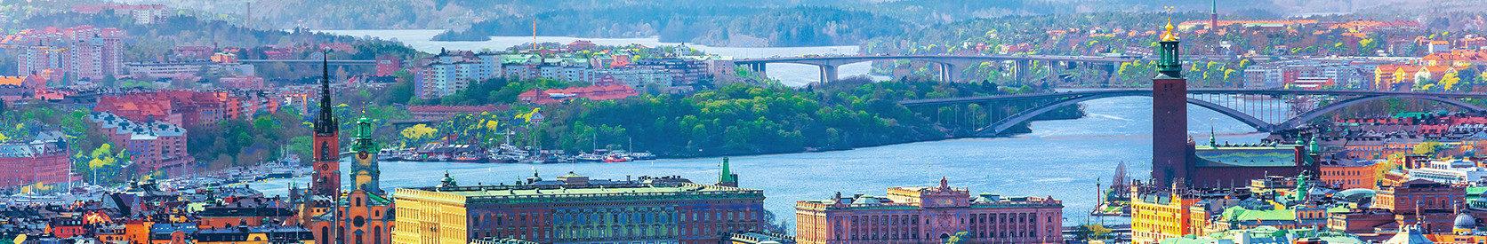 Vy över Stockholm en sommardag. Det är starka färger och man ser hustaken, Riddarholmskyrkan, Stockholms slott, Riksdagshuset, Stadshuset, Västerbron, Essingeleden och Mälarens infart i Stockholm.